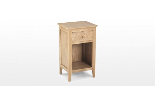 Hayman Oak Small Bedside Cabinet With Drawer Quercus Living
