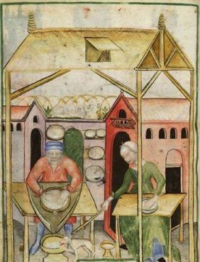 Tacuinum Sanitatis haciendo queso en la Edad Media
