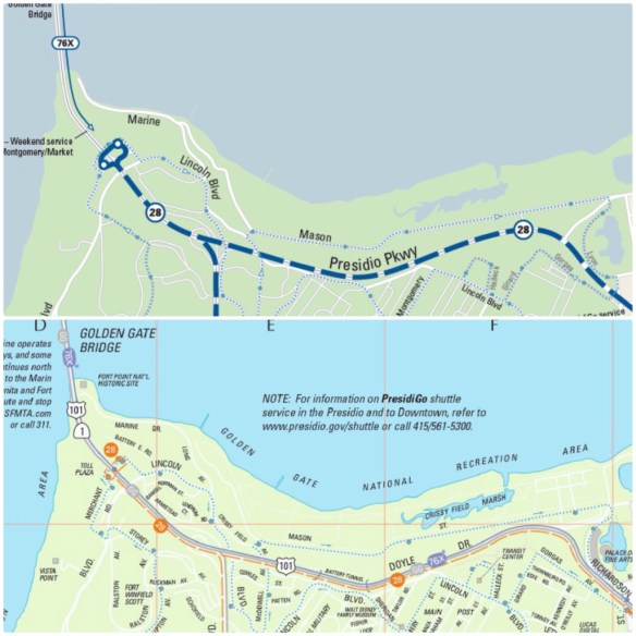 A side-by-side comparison of how the Presidio is depicted in the old and new Muni maps.