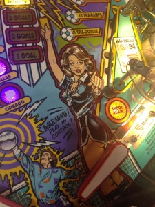 Some of the playfield art for 1994's World Cup Soccer pinball game on display at the 2014 Pin-a-Go-Go show in Dixon, California.