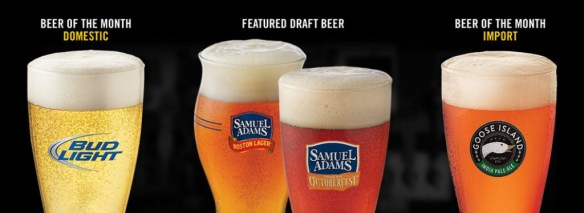 Here are  Buffalo Wild Wings' beers of the month, as seen on Aug. 10, 2015.