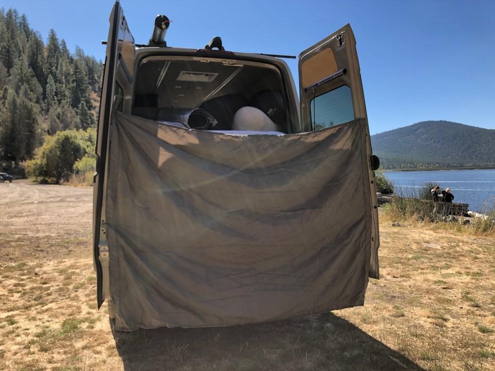Sprinter van rear door privacy curtain