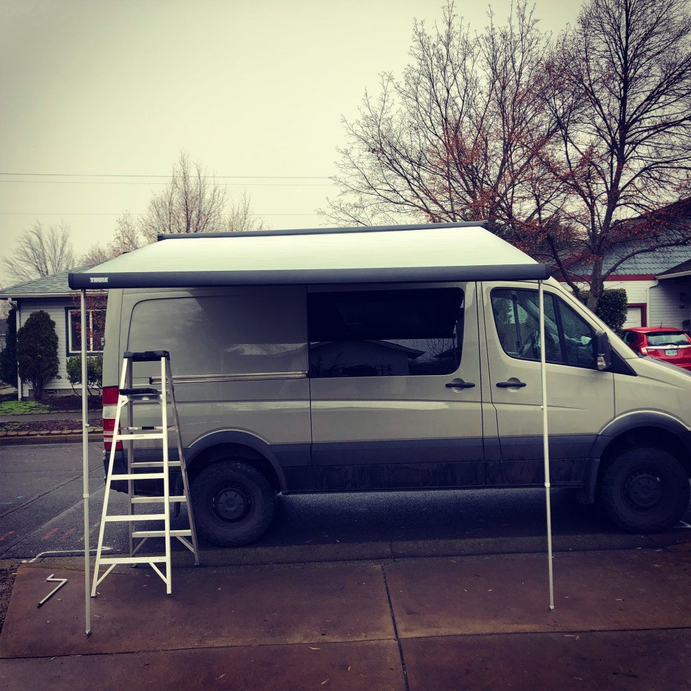Thule awning on a Sprinter van