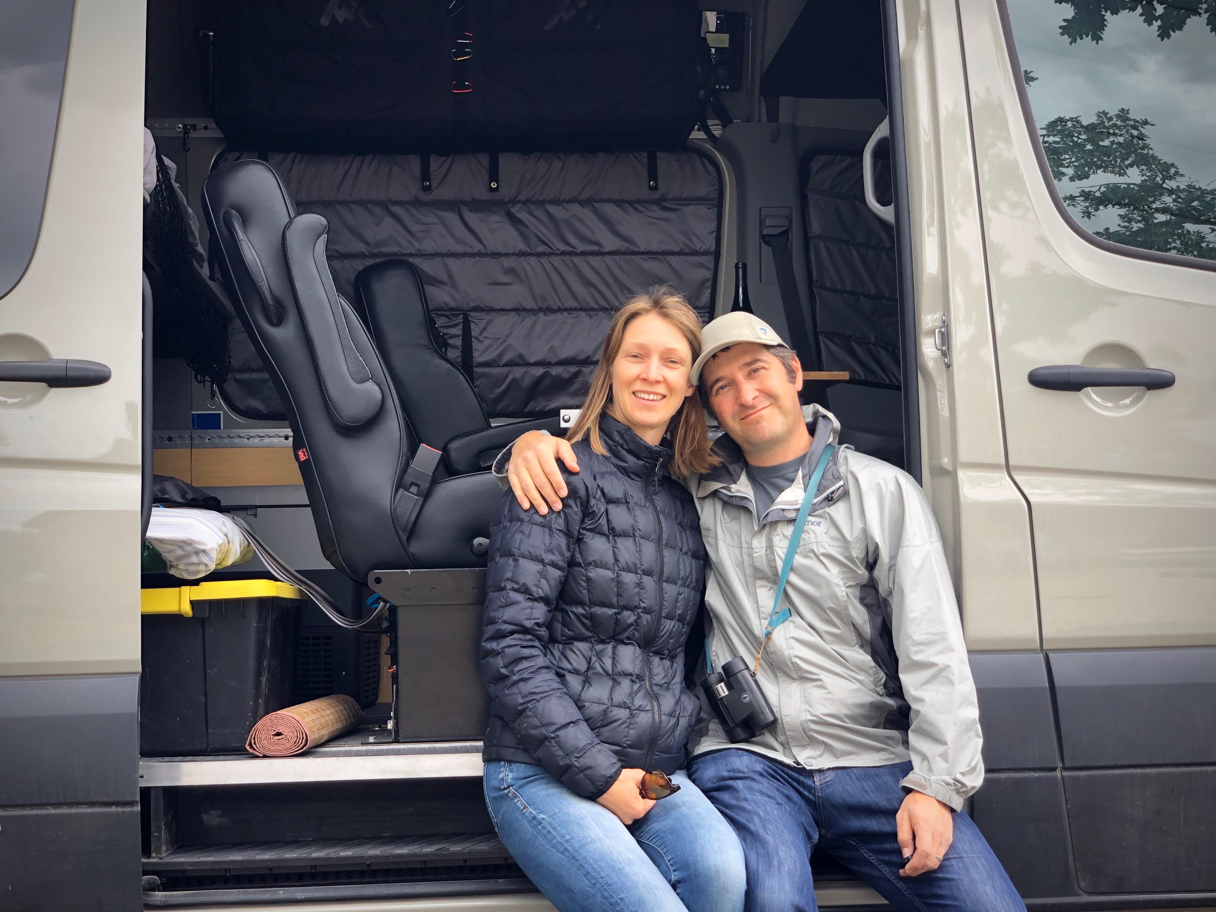 Quest Overland founders sitting in Sprinter van