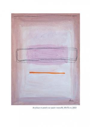 Rose Pâle - Acrylique et pastels sur papier marouflé 69x75, 2003