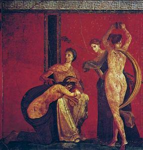 Rito de iniciação do culto de Dionísio, mural em Pompéia