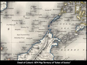 """Section of Colnton's 1874 Map: Territory of """"Sultan of Sooloo"""""""