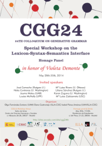 24th Colloquium on Generativa Grammar