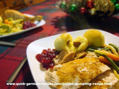 German Potato Dumplings with turkey