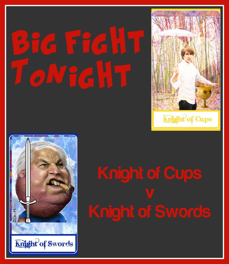Knight of Cups versus Knight of Swords - San Antonio Tarot