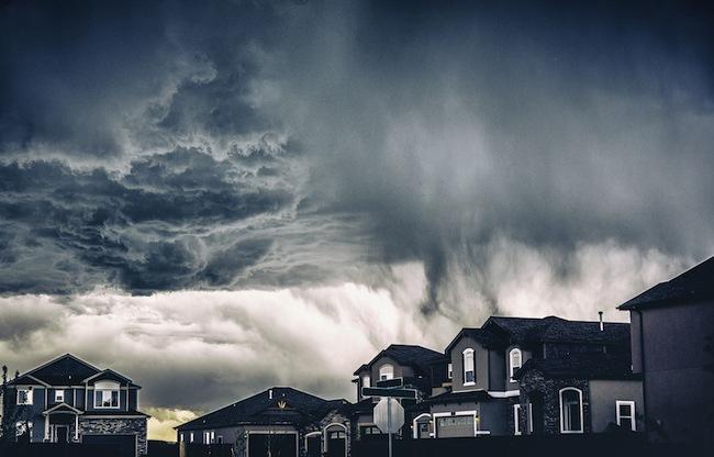Stormy Clouds Over Neighborhood