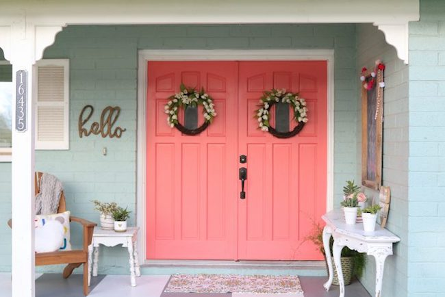 Bright coral front doors
