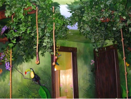Jungle ropes handing from children's room ceiling