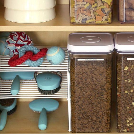 Plastic, clean bins for dog food storage