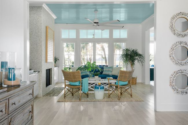 HGTV Dream Home 2020 - Great Room with island blues, whites and woven furniture