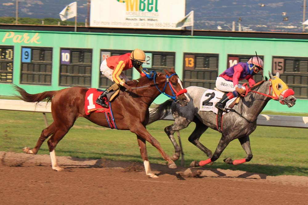 Roy Roger (#2) with Raddesh Roman aboard holding off the challenger of Extruder (Orlando Foster). (Photo: Kimberly Bartlett)