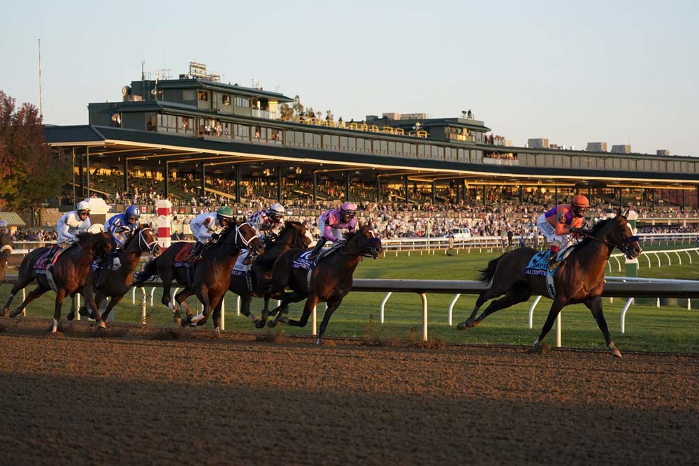 John Velazquez (9) rides Authentic to win the Breeder's Cup Classic horse race at Keeneland Race Course, in Lexington, Ky., Saturday, Nov. 7, 2020. (AP Photo/Mark Humphrey)