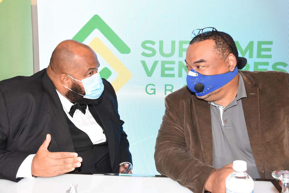 Chairman of the Supreme Ventures Group Gary Peart (right) with Solomon Sharpe, chairman of SVREL.