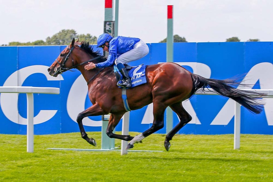 Jockey William Buick rides Ghaiyyath to victory in The Eclipse Stakes at Sandown, south-west of London on July 5, 2020. (Photo by Mark Cranham / POOL / AFP)