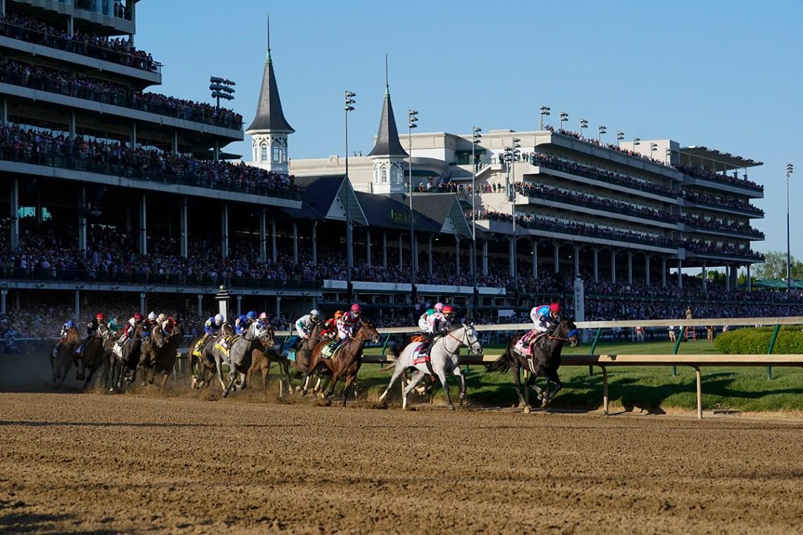 Medina Spirit leads in the Kentucky Derby.