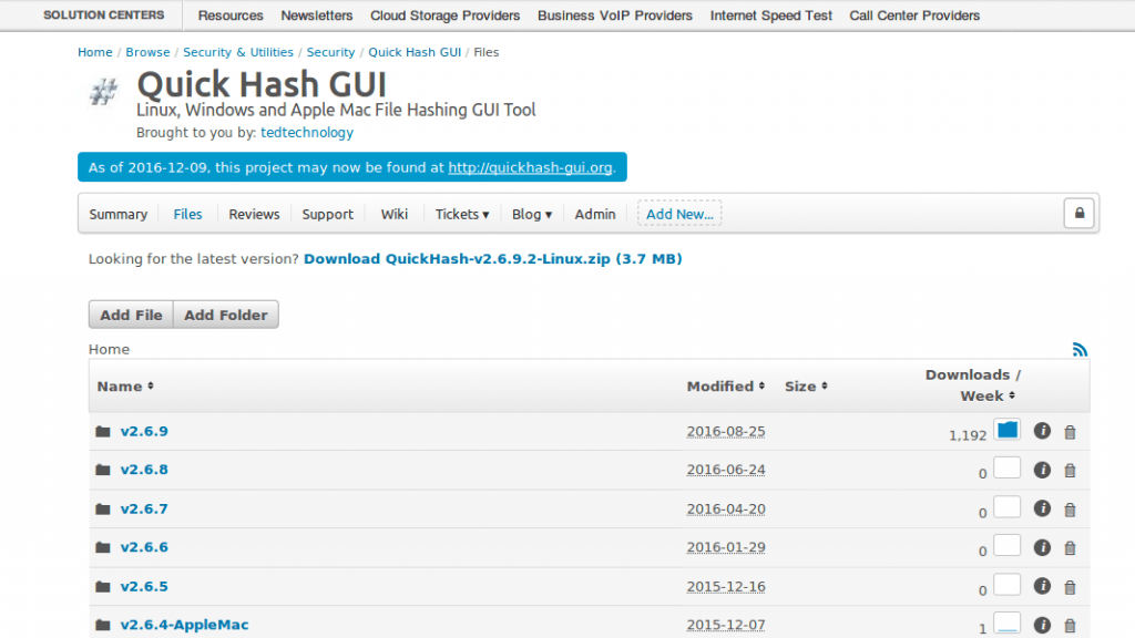 Historic Sourceforge page showing QuickHash Entries