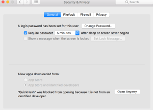 Override security warning in OSX