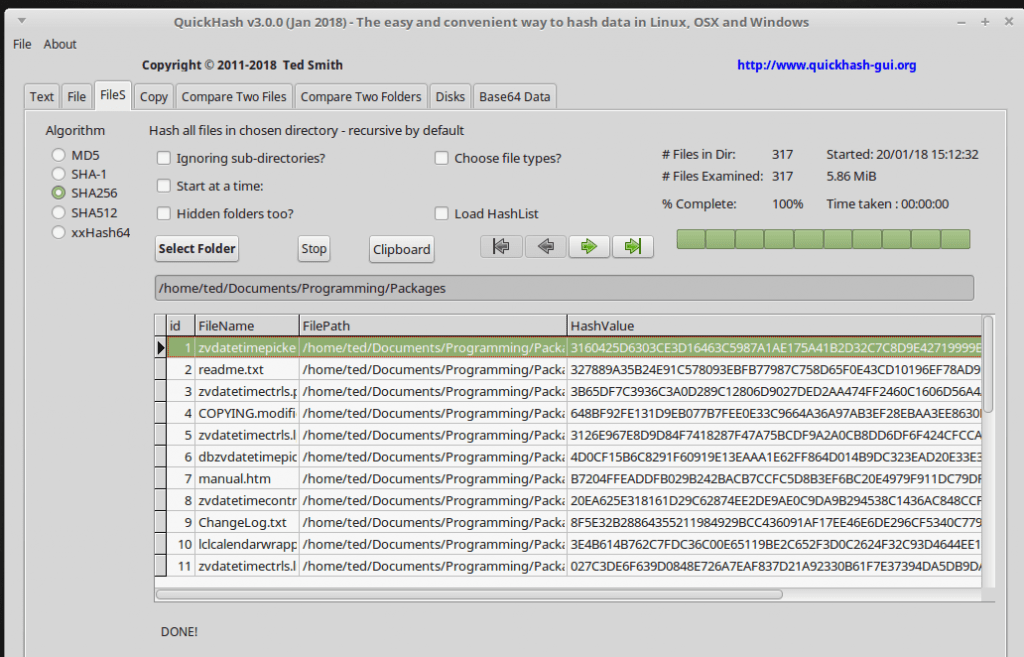 QuickHash v3.0.0 on Linux Mint