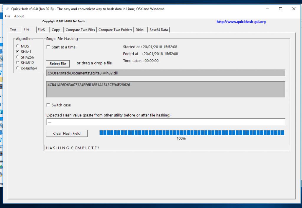QuickHash v3.0.0 on Windows 10