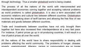 Paragraph on Globalization موضوع عن العولمة