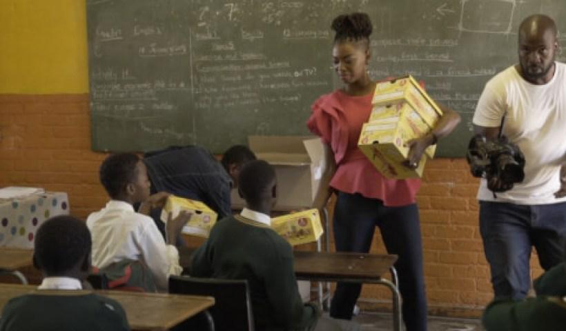 Thembisa Mdoda, Proverb And Lira Donate School Shoes around Gauteng
