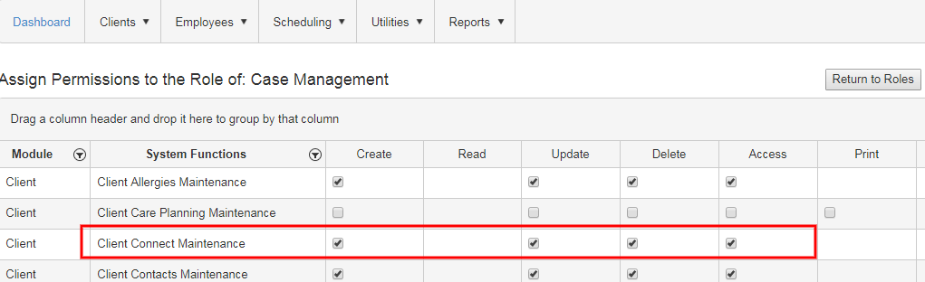 Client Connect Security permission