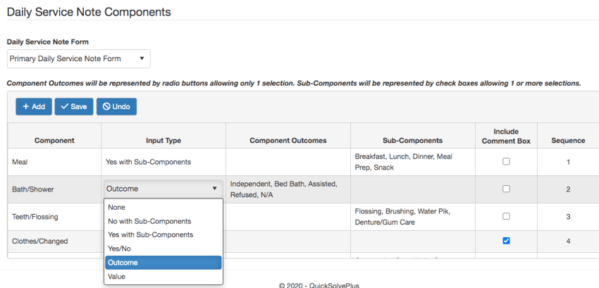 Daily Service Note form components setup