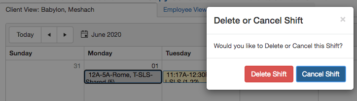 Delete or Cancel scheduled shift from QSP