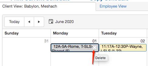 Delete shift from QSP schedule