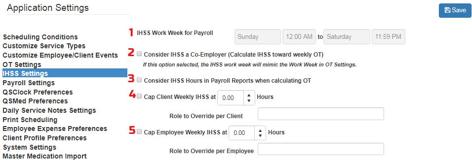 IHSS cap and payroll setting in QSP