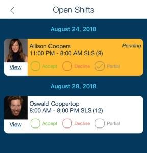 employee open shift reply