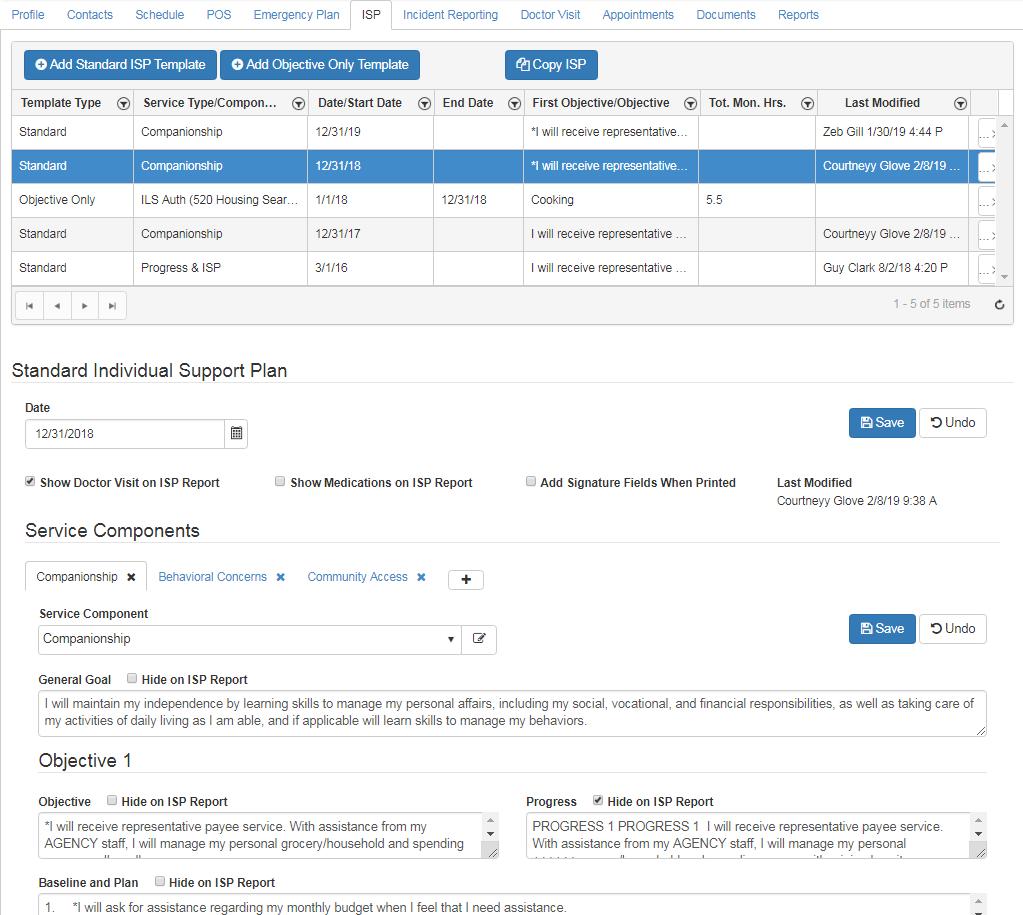 ISP standard template