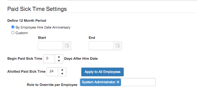 Paid Sick Time Application Setting