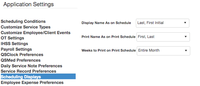 QSP scheduling display settings