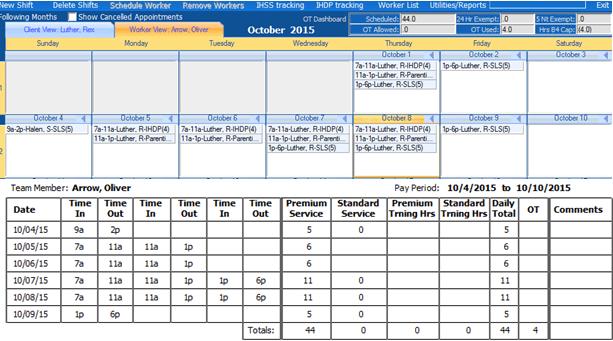 Overtime time sheet