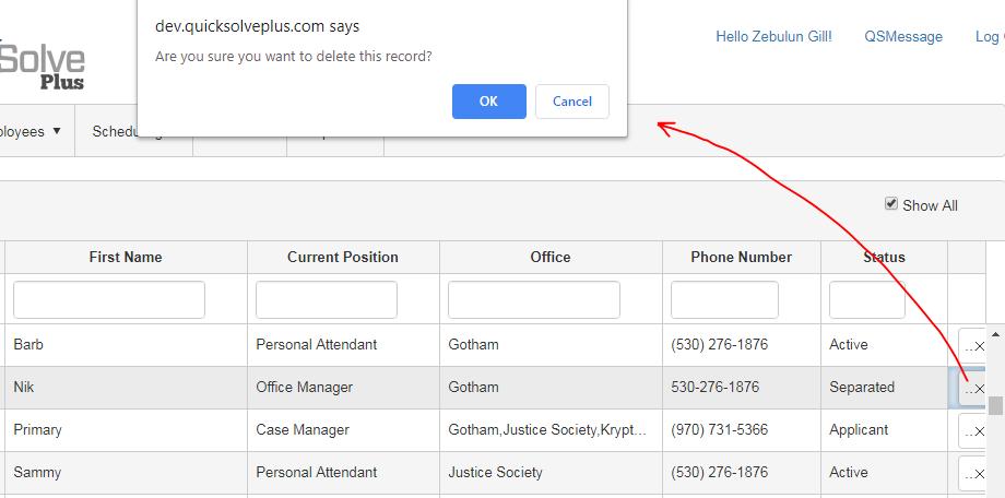 delete employee in QSP