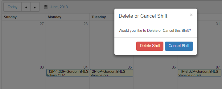delete or cancel scheduled shift