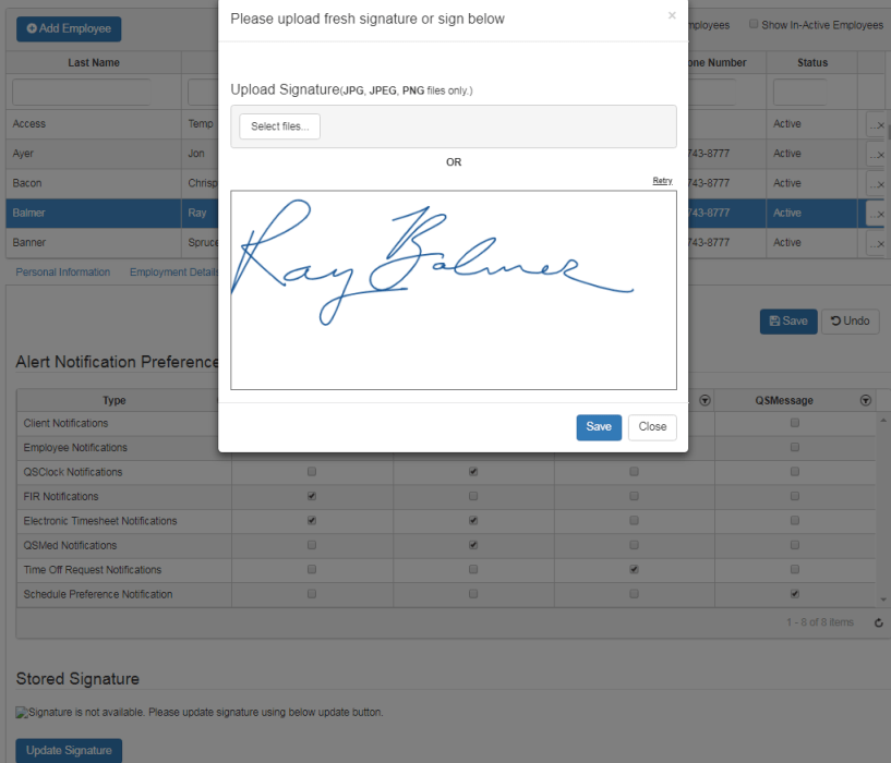 employee settings add electronic signature