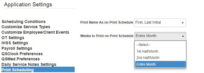 Print Schedule settings in QSP