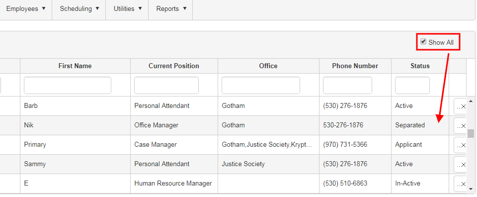 show all employee list in QSP