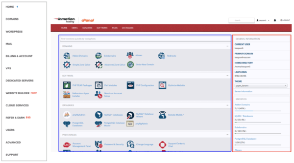 Dreamhost control panel menu next to InMotion's cPanel menu