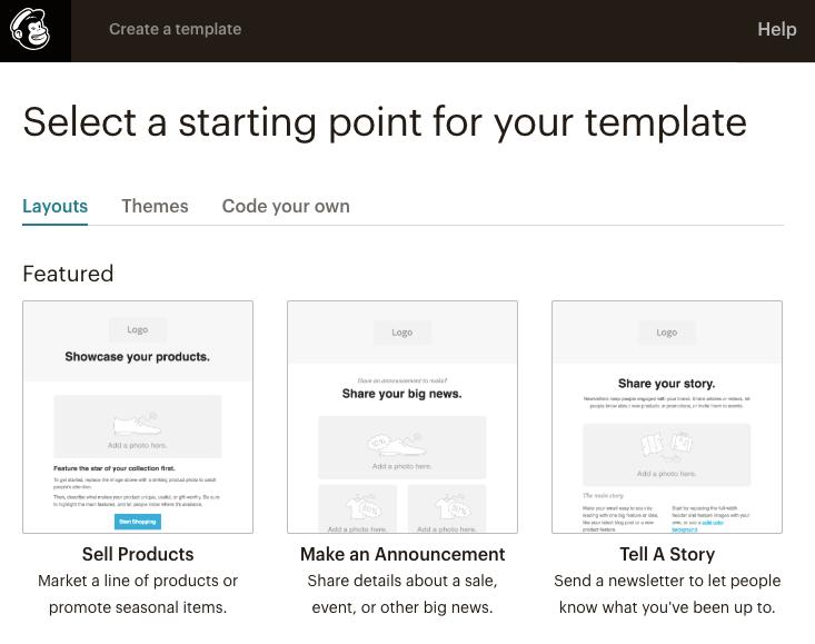 Mailchimp purpose driven email templates
