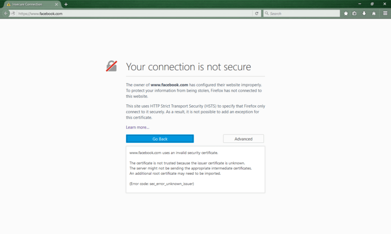 An unsecure connection warning from Mozilla