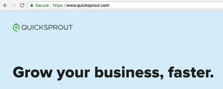 Quicksprout homepage showing SSL lock icon in browser bar