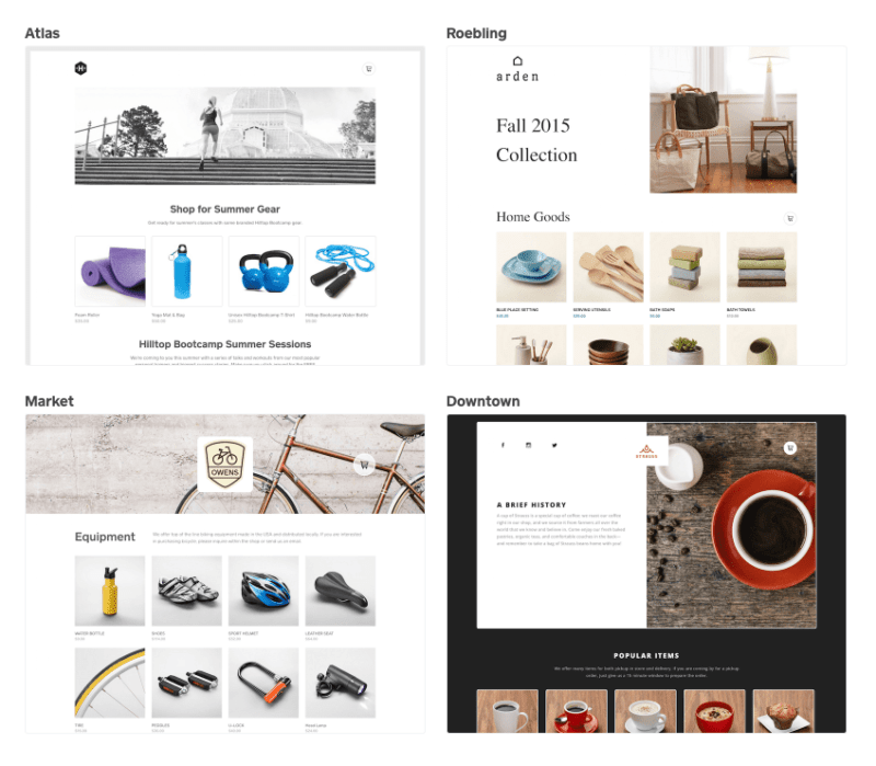 Square's free online store templates